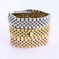 reloj de titanio para hombres al por mayor-Joyería de acero de titanio Venta al por mayor Wild Watch Cinturón Brazalete Comercio exterior Pulsera de acero de titanio Pareja pulsera de hombre joyería