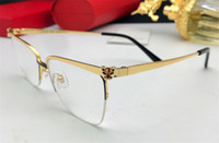 halbrand rezeptgläser großhandel-Neue optische Gläser 01250 des Modedesigners können transparente Linse des einfachen Leopardkopf-Halbrahmens Verordnungbrillen sein