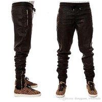 pantalon de jogging en faux cuir pour homme achat en gros de-en stock cool Man New Kanye West Hip Hop Big Snd Grand tirettes Mode Jogers Pantalon Joggers danse Vêtements Urban Hommes Faux Pantalon en cuir