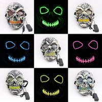 máscara de máscara completa venda por atacado-Fio EL Máscaras de Halloween LEVOU Horror Partido Masquerade Máscaras Crânio Máscaras Máscaras Festival Cosplay Traje Suprimentos Brilham No Escuro MMA2301