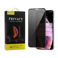 anti-parlama iphone paketleme toptan satış-3d kavisli tam kapak gizlilik için iphone x xs max xr temperli cam anti casus gözetleme parlama ekran koruyucu ile iphone 6 7 8 paket