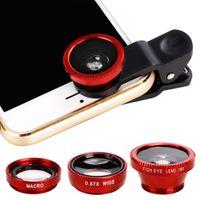 makro lens mobil toptan satış-Moda Yeni Evrensel 3 in1 Balıkgözü Geniş Açı Makro Kamera Lens Kiti Cep Cep Telefonu için Klip Açık