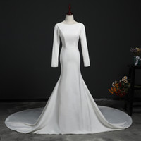Wholesale mermaid wedding dresses free shipping for sale - Group buy Simple Satin Cheap Wedding dress Actual Image Long Sleeves Court Train Backless High quality Plus size Wedding Gowns