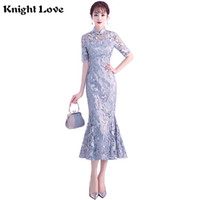 Wholesale lace qipao wedding dress online - Lace Wedding Bridesmaid Dress Vintage Female Mandarin Collar Cheongsam Embroidery Floral Elegant Slim Qipao Sexy Vestidos