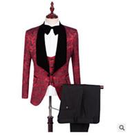 männer s weiße jacke großhandel-Neue Rot Weiß Schwarz Bräutigam Smoking Groomsmen Slim Fit Best Man Suit Hochzeit Herren Blazer Anzüge Nach Maß (Jacke + Hose + Weste) Größe S-5XL