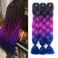 Wholesale purple ombre kanekalon braiding hair for sale - Group buy 24 quot Ombre Kanekalon Jumbo Synthetic Braiding Hair Crochet Hair Extensions DIY Jumbo Braids Hairstyles African American Hair Braids