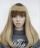 morango claro venda por atacado-WIG WBY HOT Moda Luz Morango Loira Longa Reta Franja Mulheres peruca Diária TLC178