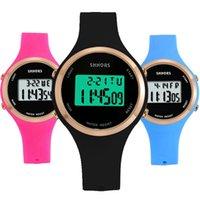 ingrosso orologi freddi-SHHORS Unisex uomini donne studenti impermeabile luce fredda in gomma sportivo orologio digitale moda multi-funzione orologio elettronico in silicone LCD