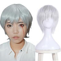 Wholesale silver hair wig cosplay resale online - Details about Gintama Sakata Gintoki Cosplay Party Wigs Short Silver White Hair Wig