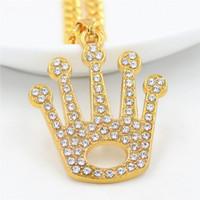 coronas de strass para hombre al por mayor-201908 Charm Crystal Rhinestone Crown Colgante Collar de moda Mujer Collares de lujo Aleación Chapado en oro Hombres Hip Hop Joyería Mejor regalo M089F