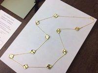 collares de oro vintage para mujer al por mayor-Vintage Alhambra S925 plata esterlina con 18 k chapado en oro de cerámica 20 PCS cuatro hojas tréboles suéter largo collar para mujer joyería
