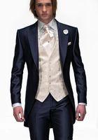 damat takım elbise tasarımları toptan satış-Moda Tasarım Lacivert Damat Smokin Tepe Yaka Bir Düğme Groomsmen Mens Düğün Smokin Mükemmel Adam 3 Parça Suit (Ceket + Pantolon + Yelek + Kravat)