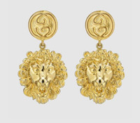 Wholesale new copper earring online - Designer Women Jewelry New Golden Lion Head Stud Earrings Luxury Big Earrings for Women s Wedding Jewelry