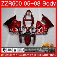 kit de carénage pour kawasaki zzr achat en gros de-Corps pour KAWASAKI NINJA 600CC ZZR600 05 06 07 08 Carrosserie 38HC.15 ZX600CC ZZR-600 ZZR 600 2005 2006 2007 2008 Kit carénage OEM brillant rouge chaud