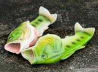 ingrosso pantofole di dimensioni del bambino-2017 Hot Summer New Pattern Simulazione creativa Fish Slippers Open Toe Flat Couple Models Scarpe da spiaggia Sandy baby donna uomo taglia 31-44