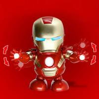 batteriebetriebene weihnachtsspielzeug großhandel-Tanz Wunder Avengers Iron Man LED Taschenlampe mit Musik batteriebetriebenes Spielzeug Kind Geburtstag Weihnachtsgeschenk buntes Paket