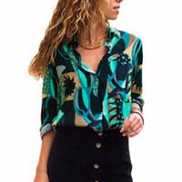 blusas largas sueltas de gasa al por mayor-Blusas de gasa para mujer Camisa de oficina con cuello redondo y manga larga Blusa estampada geométrica suelta Casual Tops Tallas grandes Chemise Femme