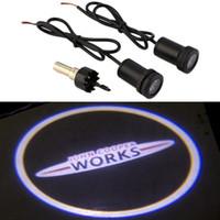 mini cooper luzes venda por atacado-Mini compatriota Cooper S Ghost Shadow bem-vindo carro LED porta luz Laser cortesia logotipo do projetor de slides emblema luz
