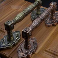 armários de tv antigos venda por atacado-2 Pçs / set Clássico Europeu Liga De Zinco Bronze Puxador Villa Archaize Ao Ar Livre Porta De Madeira Móveis De Vidro Deslizante Móveis Maçanetas de Aço
