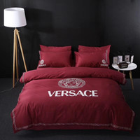 Wholesale king size bedding wedding resale online - Wedding Wine Red Bedding Supplies New Style Bedding Suit For Luxury Design Full Size Queen Size Bedding Sets