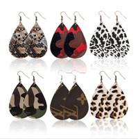 neue stilvolle goldohrringe großhandel-Neue stilvolle Teardrop Leder Anhänger Ohrring Leopard Wassertropfen Charme baumeln Ohrringe für Frauen Dame