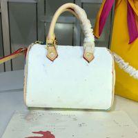 mini weiße farbe handtasche großhandel-Speedy Handtasche weiße Farbe Stoff sieben Farbe M61252 Qualität Ledertasche Marke Designer Handtasche Umhängetasche