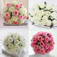 Wholesale flower posies resale online - 18 Head Silk attificial Roses Artificial Wedding Flowers Decrations Bridal Posy Flower Home Party Decor wedding decorations