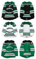 yeşil hokey mayo satışı toptan satış-Vintage Kuzey Dakota Hawks Mücadele (Yaz Satış) Jersey Siyah Beyaz Yeşil 100% Dikiş Özel Hokey Formaları