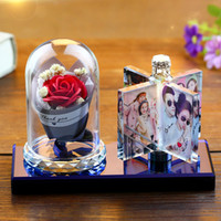Wholesale souvenir for wedding crystal resale online - Photo Custom Crystal Rotated Windmill Photo Frame Personalize Printed Photo Album Square Picture Wedding Gift for Guests Souvenir Gift