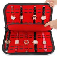 estante de relojes al por mayor-10/20 Rejillas Caja de Reloj de Cuero con Cremallera Velvet Reloj Reloj de Exhibición Caja de Almacenamiento Bandeja de Viaje Joyería Embalaje Estante Organizador