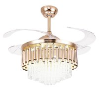 Wholesale ceiling fans resale online - European Fan Lamp With Remote Control LED Bedroom Dining Room Ceiling Fan Lamp Household Invisible Fan Large Ceiling Lamp LLFA