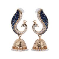 indischen pfau schmuck großhandel-Retro indischer Bollywood Kundan Pfau Jhumka Jhumki Tropfen-Ohrring-Zigeunerschmucksachen