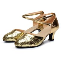 Fashion woman modern dance shoes shiny gold and silver baotou Latin dance shoes