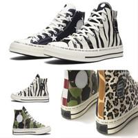 segeltuch turnschuhe hohe spitzen blau großhandel-Converse Chuck 70 Hi x Brain -Dead Joint Converse Camouflage Canvas Sneakers