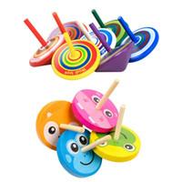 ingrosso mini legno di filatura superiore-Commercio all'ingrosso Mini Legno Gyro Multicolor Cartoon Legno Spinning Top Classici Bambini Desktop Toy per ragazzi ragazze regalo