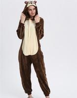 tier-pyjamas für kinder großhandel-Rosa Einhorn Erwachsene Cosplay Kostüm Kinder Pyjamas Cartoon Tier Onesie Kinder Flanell Mädchen Pyjamas Jungen Nachtwäsche KD-062chipmunk Onesie