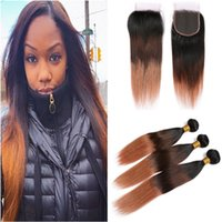 Wholesale ombre hair dye colors for sale - Group buy Ombre Bundles and Closure Three Tone B Medium Auburn Ombre Straight Peruvian Human Hair Weaves Extensions with Lace Closure x4