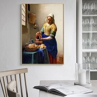 adesivos de parede para escola venda por atacado-Os Milkmaid Johannes Vermeer Escola holandesa Kraft Vintage Posters Adesivos de parede Bar Decoração Presente Pinturas Tela