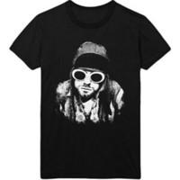 pose des lunettes achat en gros de-Kurt Cobain Lunettes Unisexe Pose Officiel Tee T Shirt Homme