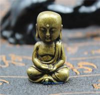 çince saray süsleri toptan satış-Çin pirinç koleksiyonu Küçük Buda süsler heykeli