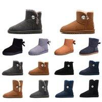 коричневые туфли для дам оптовых-Мода Роскошные дизайнерские Женская обувь Зимние ботинки снега кристалл пряжки Браун Черный étoile Ladies Платформа меховые сапоги Размер 36-41