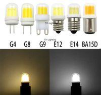 ingrosso luci g8-4W G4 G8 G9 E12 E14 BA15D Base COB1511 LED CA 110 V / 220 V Bianco / Bianco caldo Lampadina Lampada ceramica Vetro Illuminazione, Confezione da 10