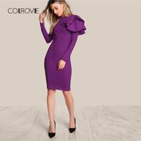 Wholesale black dress side trim online - Colrovie Purple One Side Tiered Ruffle Trim Party Dress Autumn Black Slim Elegant Bodycon Dress Long Sleeve Women Dresses J190509