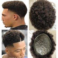 peruk tam kıvırcık toptan satış-Erkekler Saç Sistemi Peruk Tam Ince Cilt Afro Curl Tam PU Peruk Kahverengi Renk # 2 Avrupa Virgin Remy İnsan Saç Değiştirme erkekler için