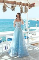 Wholesale 26w special occasion dresses resale online - Short Sleeves A Line Lace Sky Blue Prom Dresses Formal Long Women Evening Party Gowns Beach Special Occasion Party Gowns Long