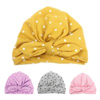 Wholesale bandanas infants resale online - Sweet Dot Baby Girl Hat with Bow Candy Color Baby Turban Cap for Girls Elastic Beanie Infant Accessories