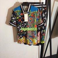 frauen kleiden linie midi großhandel-High-End Frauen Mädchen Luxus Kleid Set T-Shirt gestreift Flora Print Kurzarm Revers Neck Top T-Shirt Bluse Midi A-Line Plissee kurze Röcke