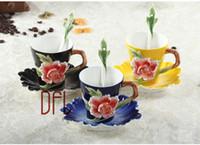 çin porselen çiçekler toptan satış-Çiçek 2019 Emaye Kahve Kupa Porselen Çay Süt Fincan Set Yaratıcı Seramik Drinkware Avrupa Kemik Çini Copo