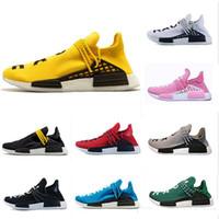 Wholesale human race red shoes online - 36 NMD Human Race trail Running Shoes Men Women Pharrell Williams HU Runner Yellow Black White Red Green Grey blue sport runner sneaker