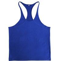 erkekler spor singletleri toptan satış-1 adet Erkekler Spor Atlet Stringer Kas Tankı Üstleri Spor Spor Gömlek Y GERI Racer Erkek Spor Atlet Kolsuz koşu t shirt